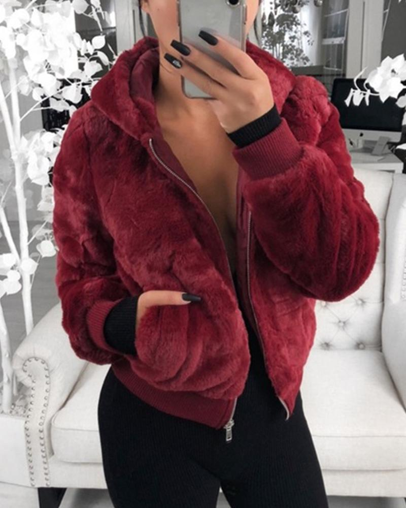 Outlet26 Plush Rabbit Fur Faux Fur Coat red