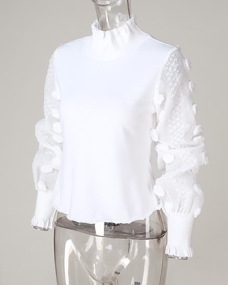Sheer Mesh Lantern Sleeve Casual Blouse
