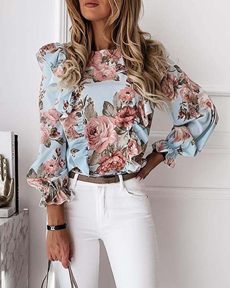 Outlet26 Floral Print V Neck Top sky blue