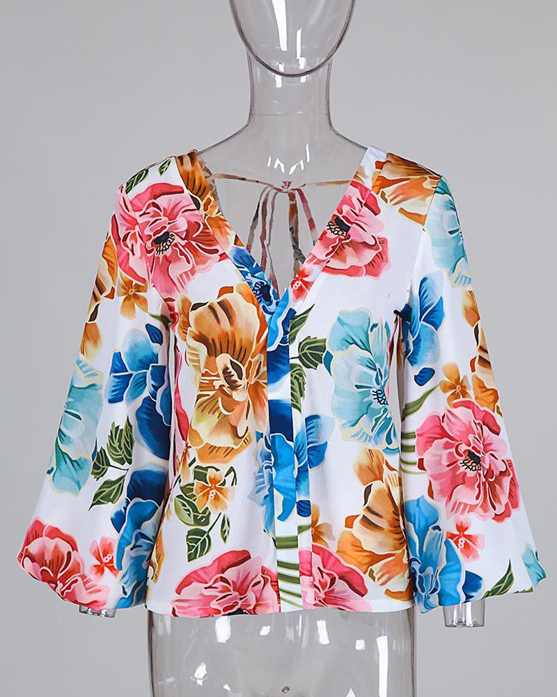 Plunge Lantern Sleeve Backless Floral Print Blouse