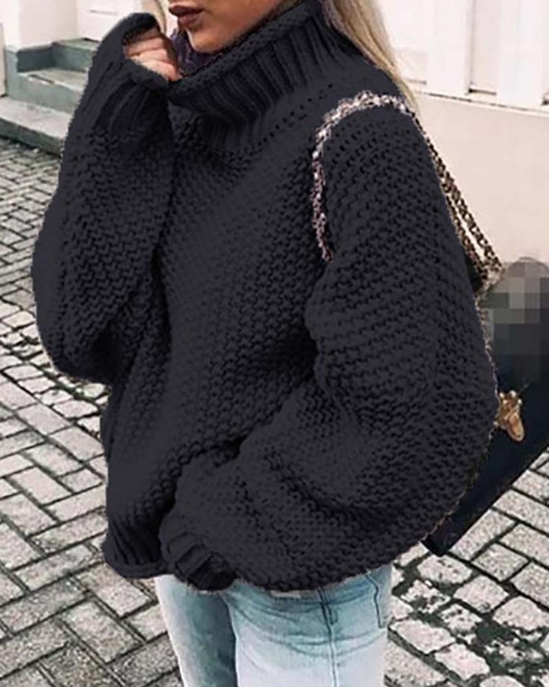 Solid Batwing Sleeve Casual Sweater