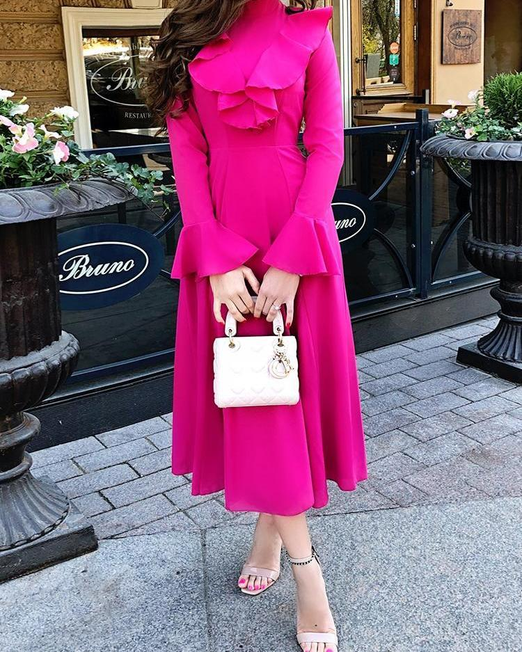 Solid Ruffles Decorated Bell Sleeve Dress
