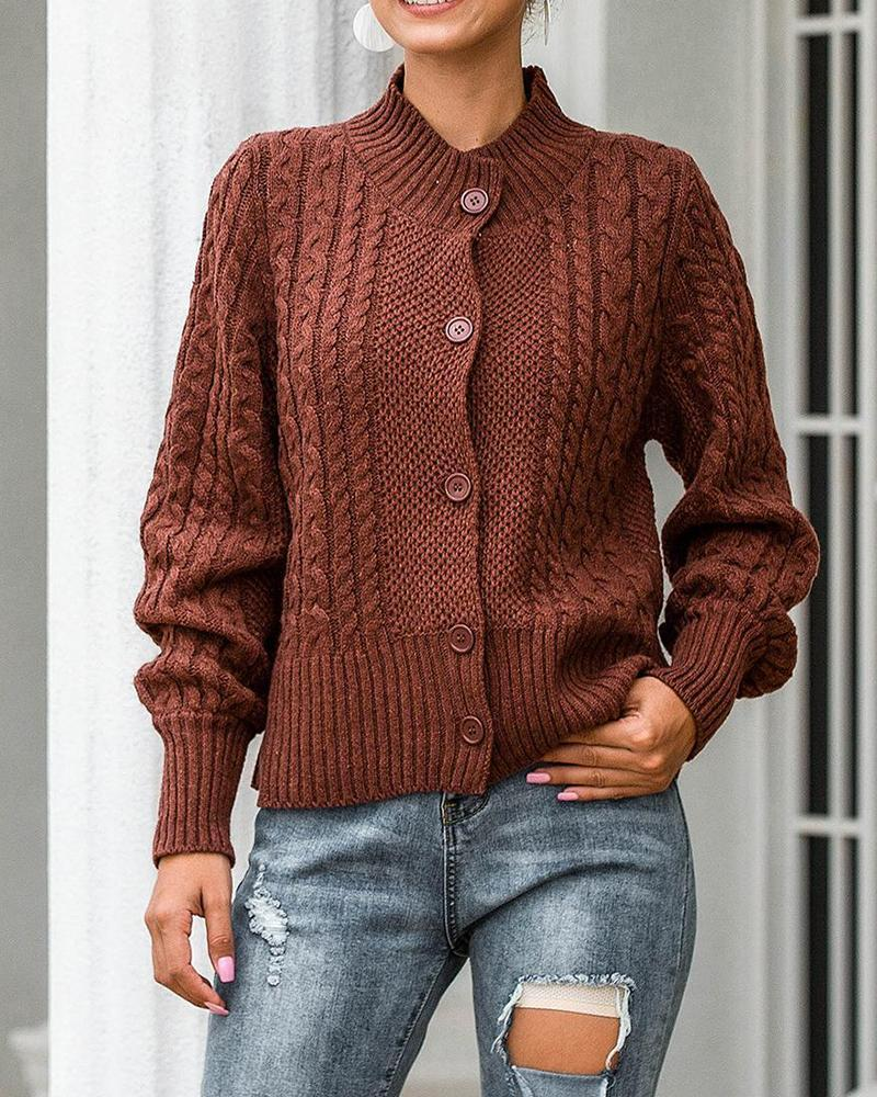Outlet26 Solid Button Front Knitted Cardigan brown
