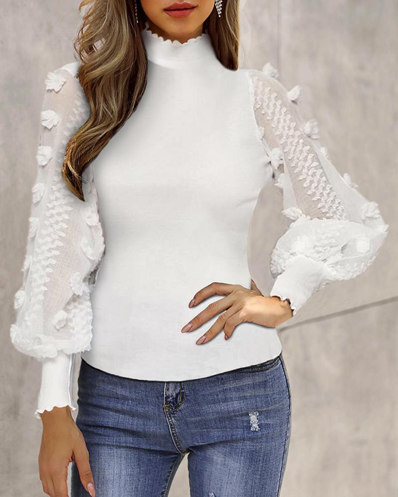Outlet26 Sheer Mesh Lantern Sleeve Casual Blouse white