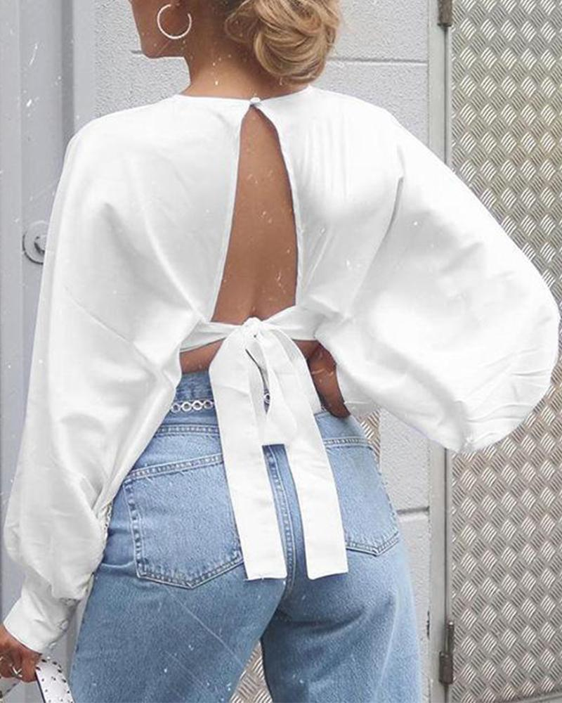 Open Back Tie Crop Satin Top