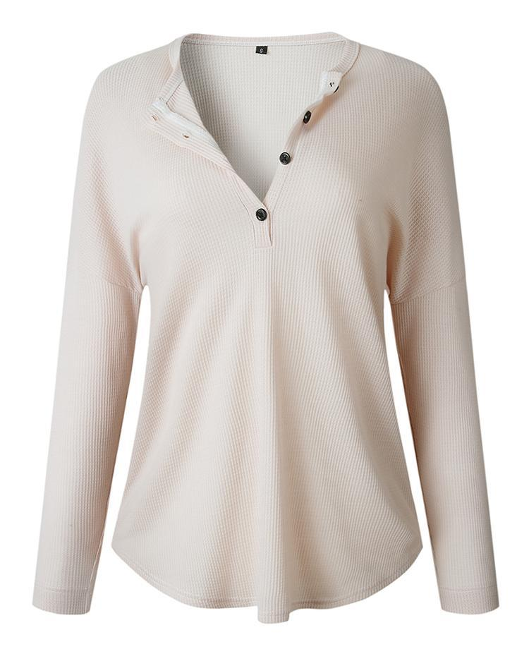 Solid Button Design Casual Blouse