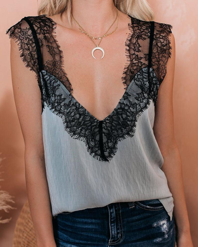 Eyelash Lace Trim Tank Top