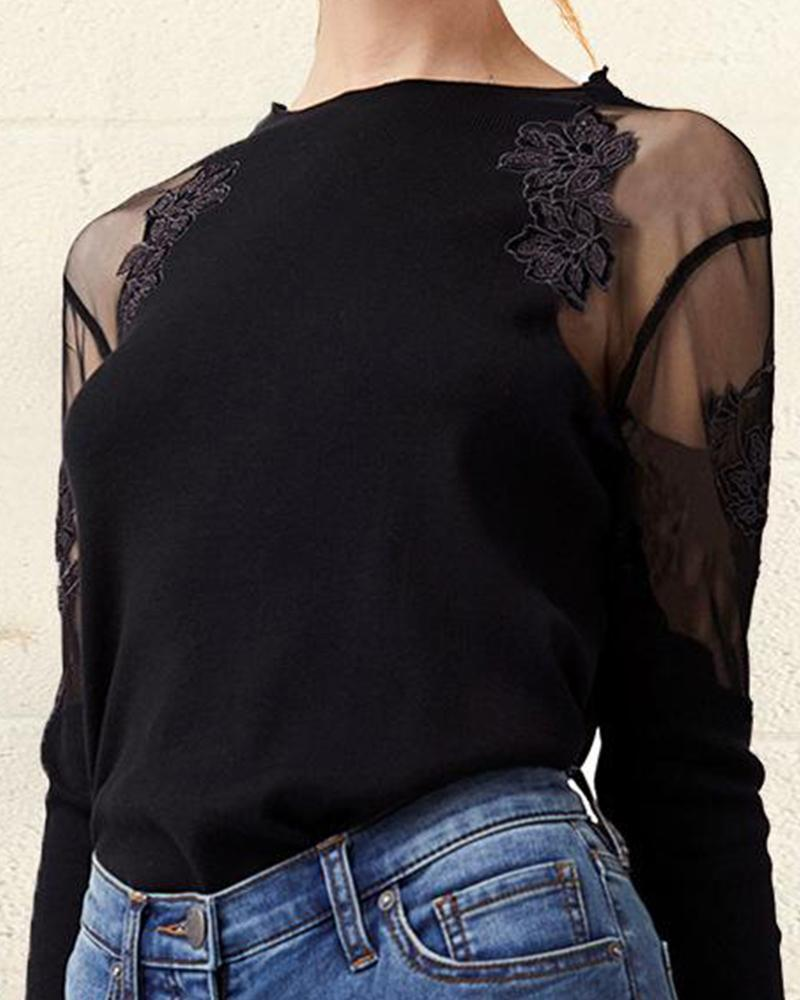 Round Neck Embroidery Mesh Sleeve Top