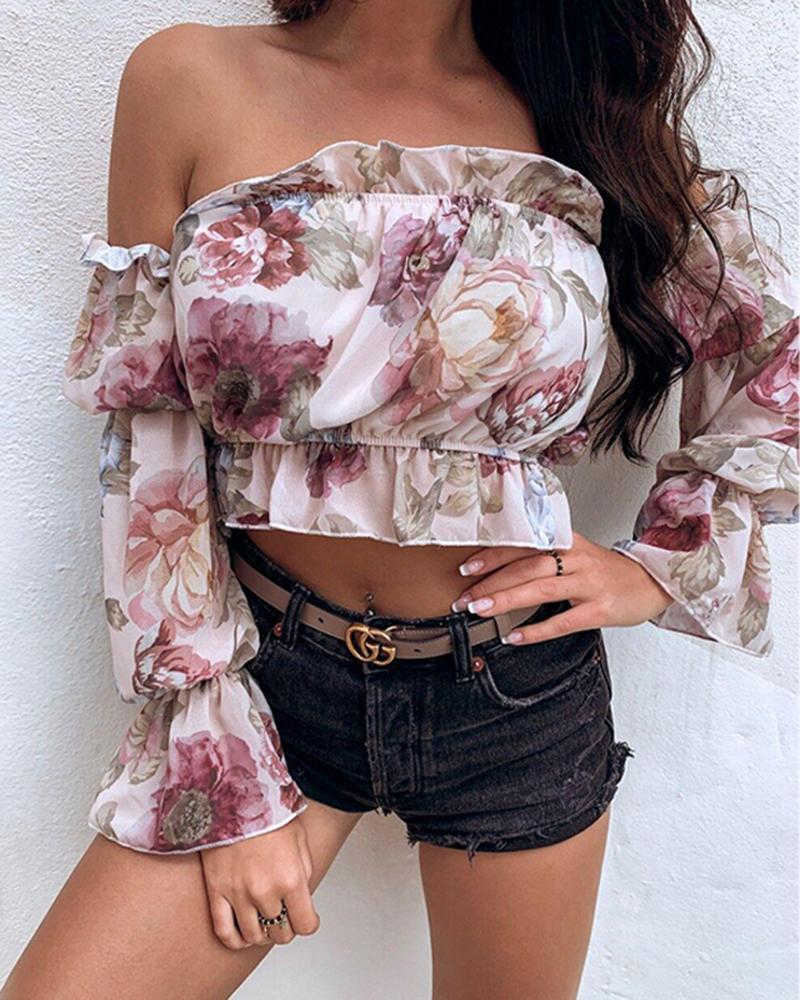 Outlet26 Fashion Women Off Shoulder Long Sleeve Floral Blouse Shirt Top pink