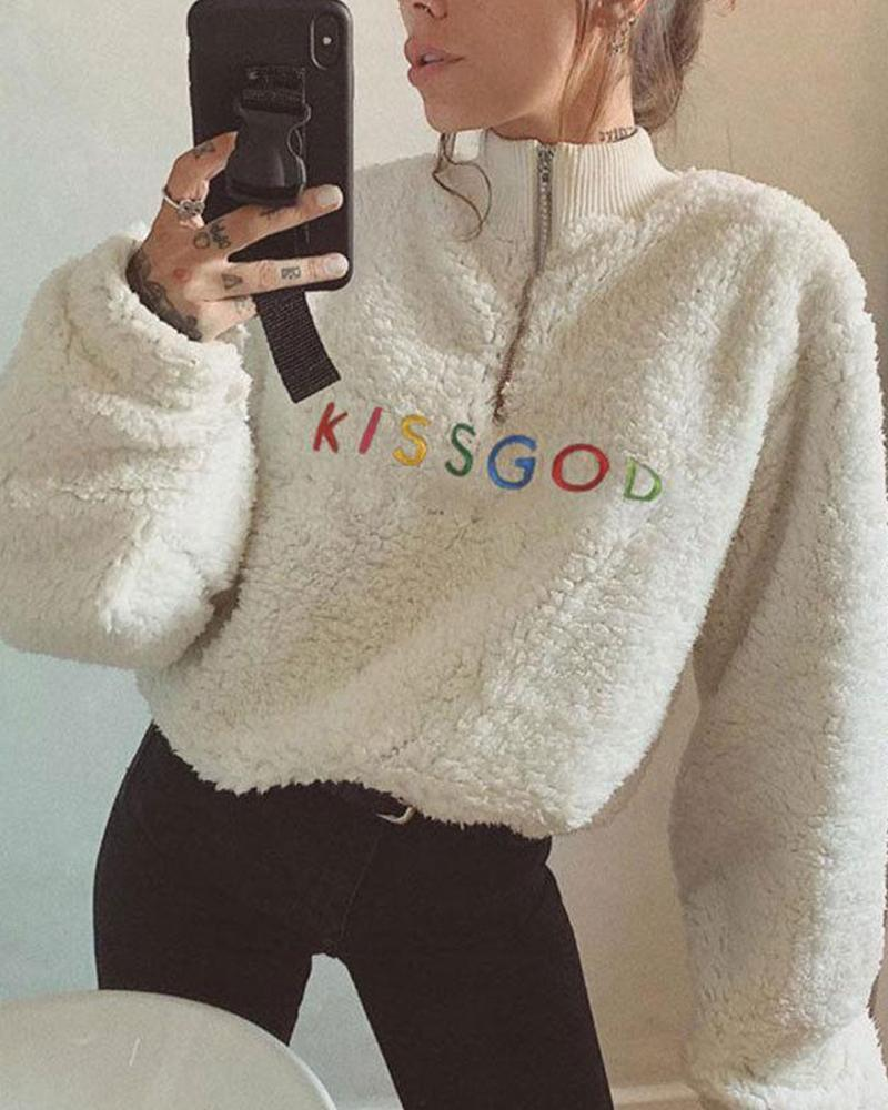 Outlet26 Faux Shearling Letter Embroidery Sweatshirt white