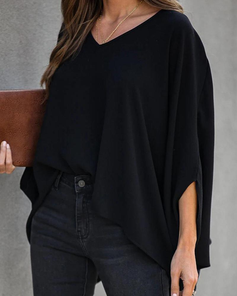 Outlet26 Solid V-neck Batwing Sleeve Blouse black