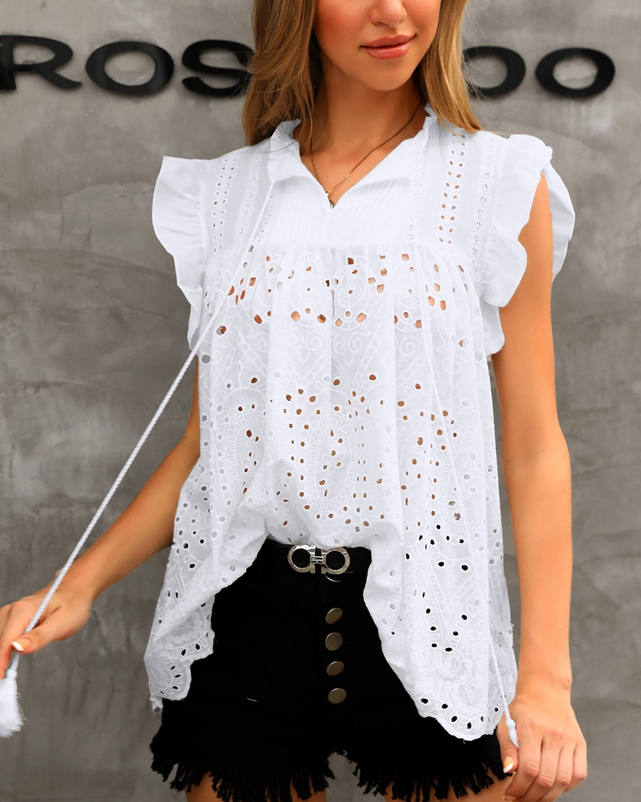 Outlet26 Solid Hollow Out Lace Flutter Sleeve Blouse white