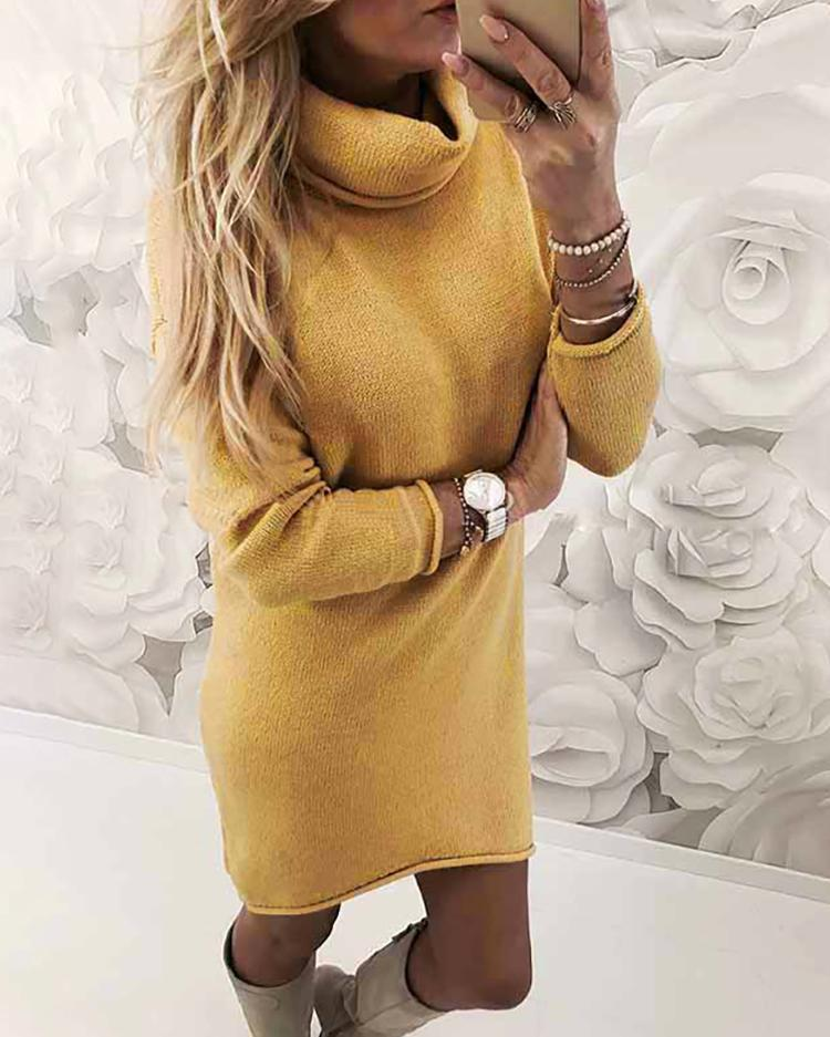 Outlet26 Turtle Neck Slim Fit Plain Sweater Dress yellow