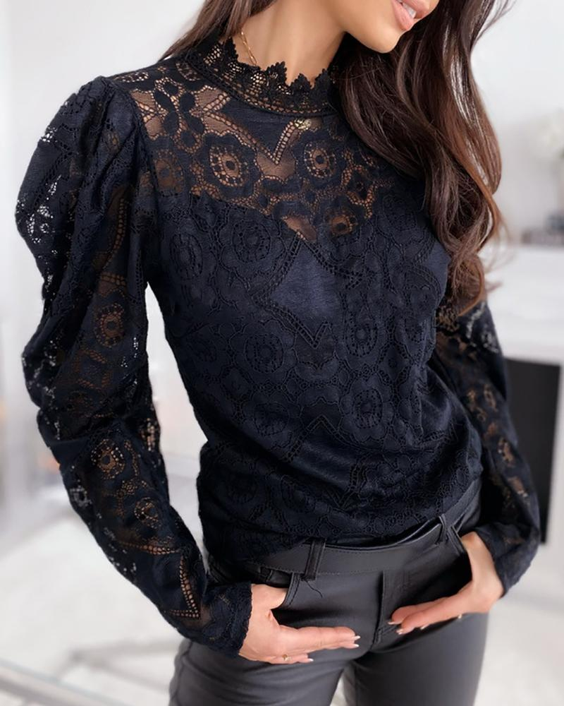 Outlet26 Mesh Eyelash Lace Hollow Out Blouse black