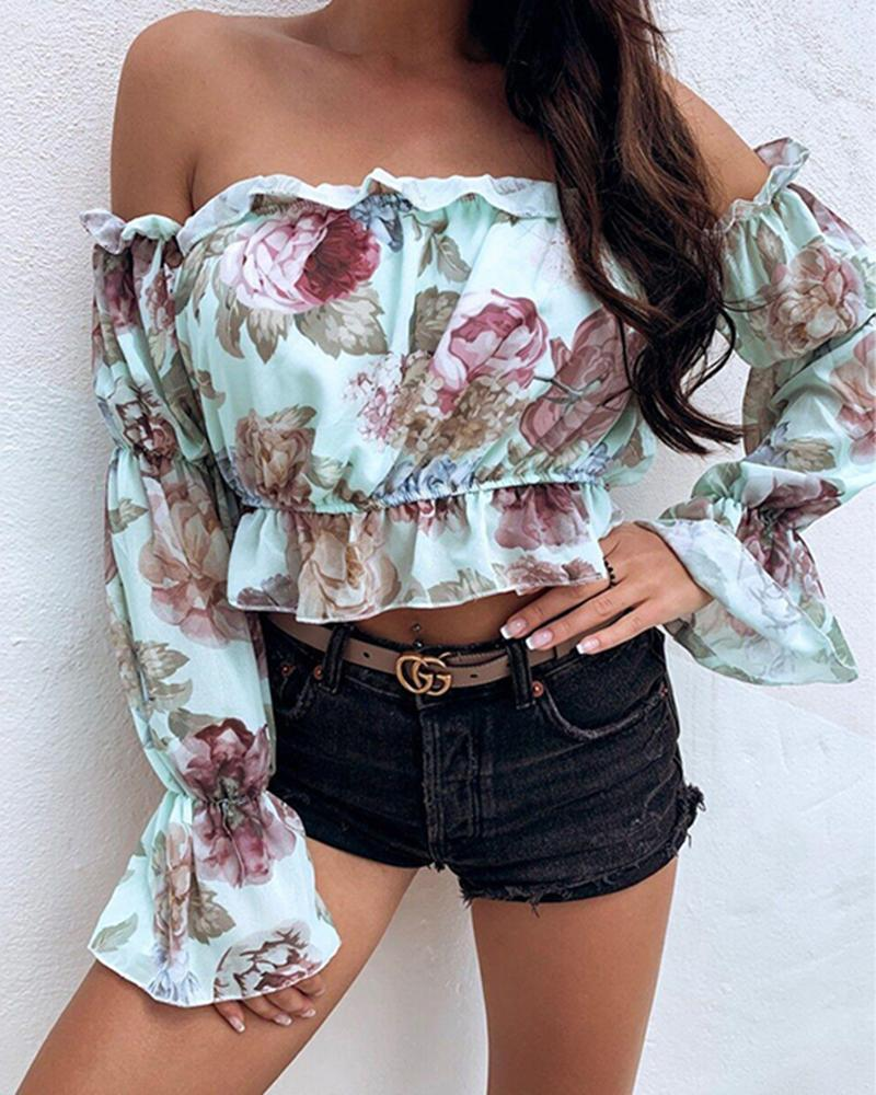 Fashion Women Off Shoulder Long Sleeve Floral Blouse Shirt Top