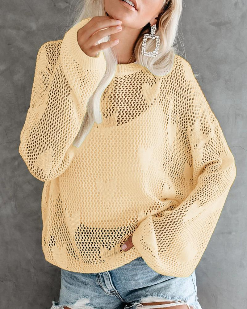 Heart Pattern Loose Knit Sweater
