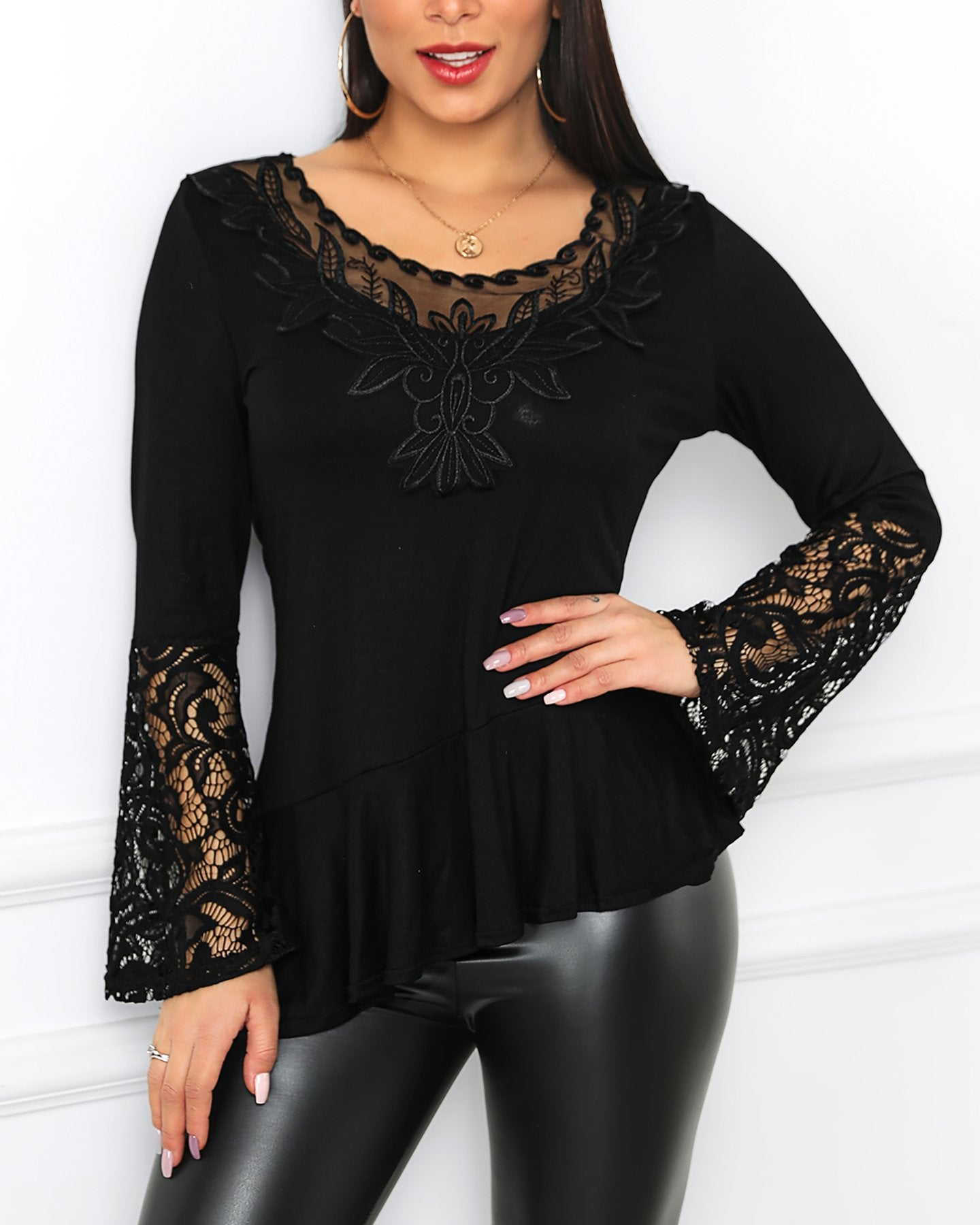 Outlet26 Mesh Lace Bell Cuff Irregular Blouse black