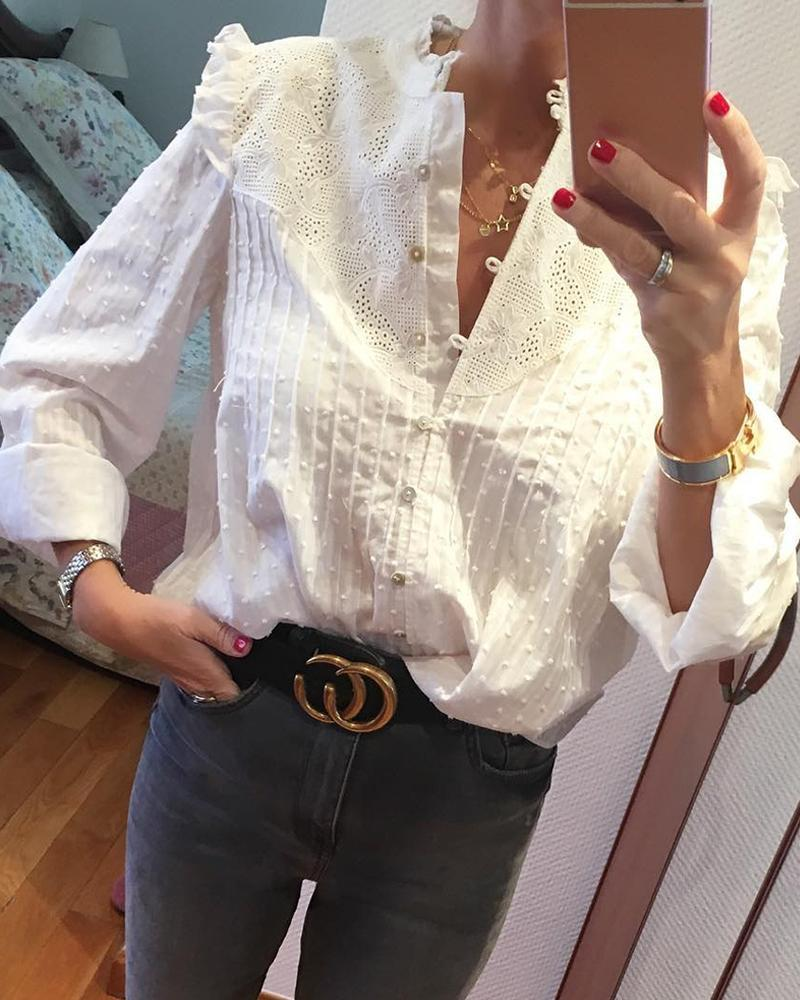 Outlet26 Round Neck Embroidery Ruffles Blouse white