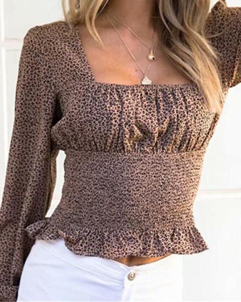 Leopard Square Neck Ruched Top