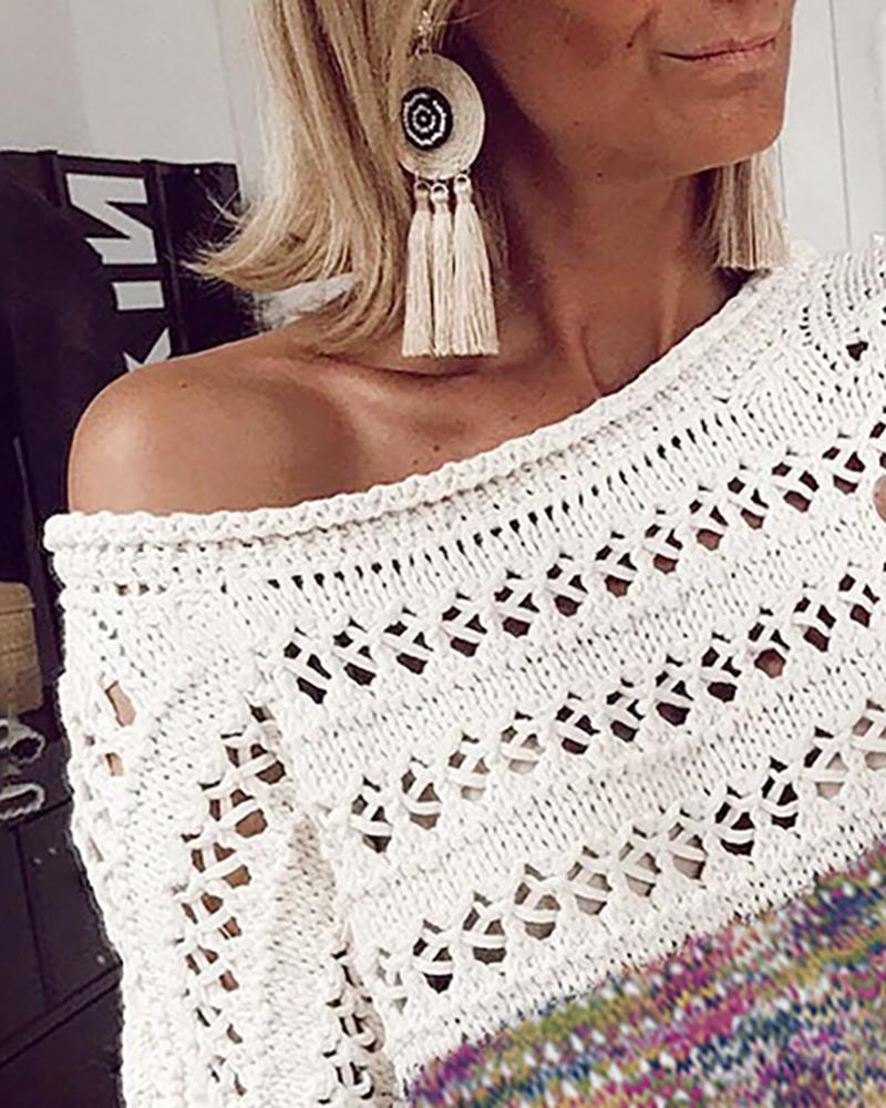 Hollow Out Colorblock Knitting Sweater