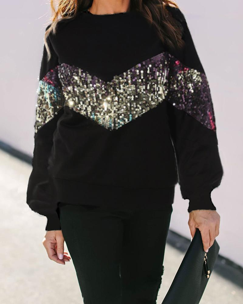 Contrast Sequins Long Sleeve Sweatshirt