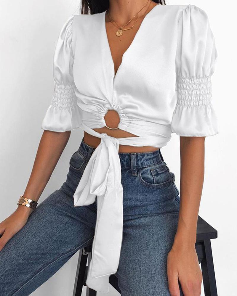 Outlet26 Cut Out Puff Sleeve Top white