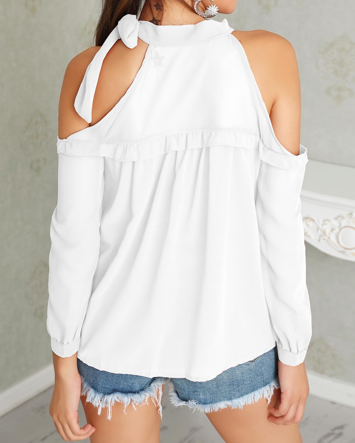 Tied Neck Cold Shoulder Frills Chiffon Blouse