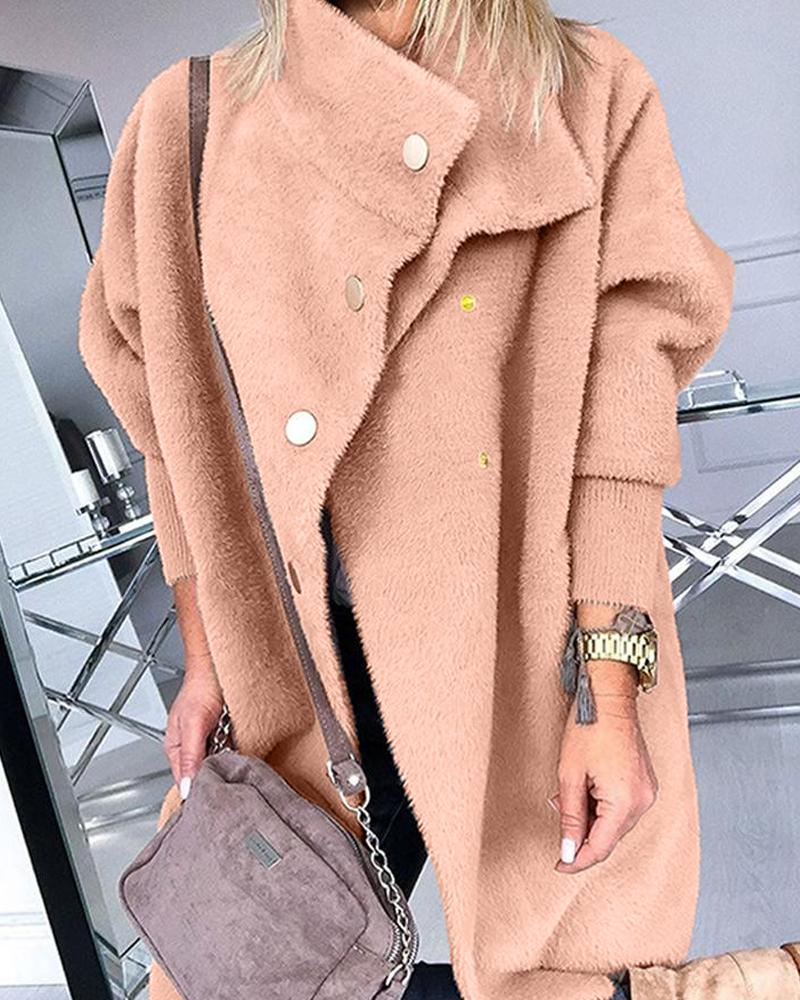 Faux Fur Gold Button Coat