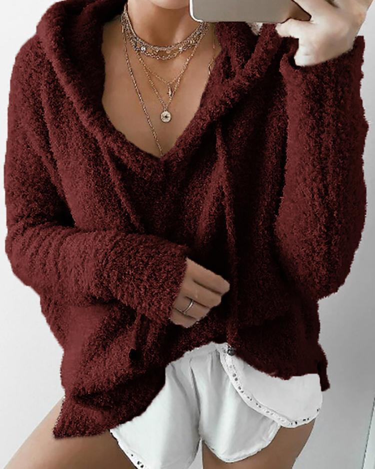 Outlet26 Fashion Fuzzy Drawstring Hoodies Sweatshirt Wine red