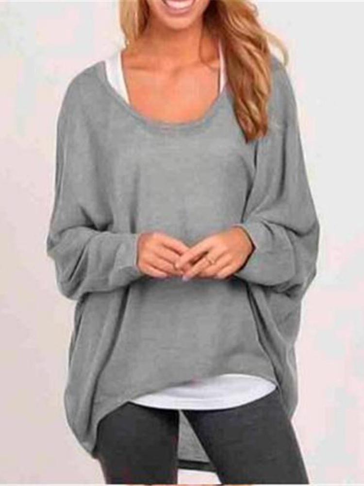 Fall Fashion Women's Long Sleeve Solid Color Woolen Sweater Plus Size Casual Tops Loose T-shirt Pullovers