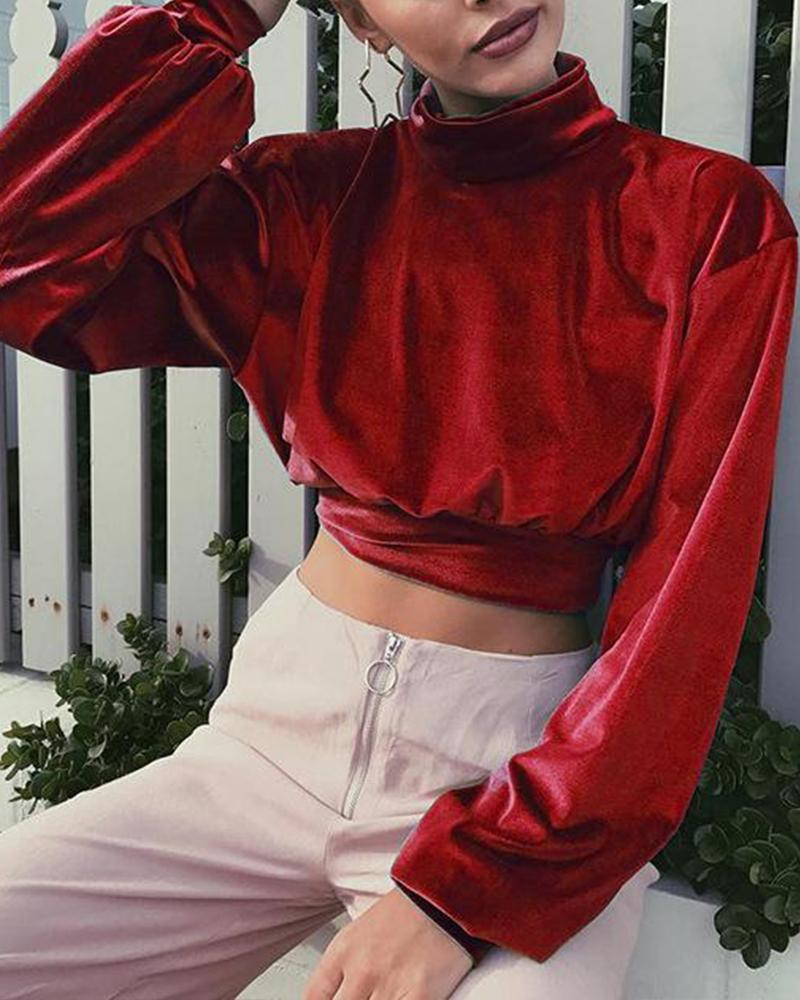 Outlet26 High Neck Velvet Cropped Sweatshirt red