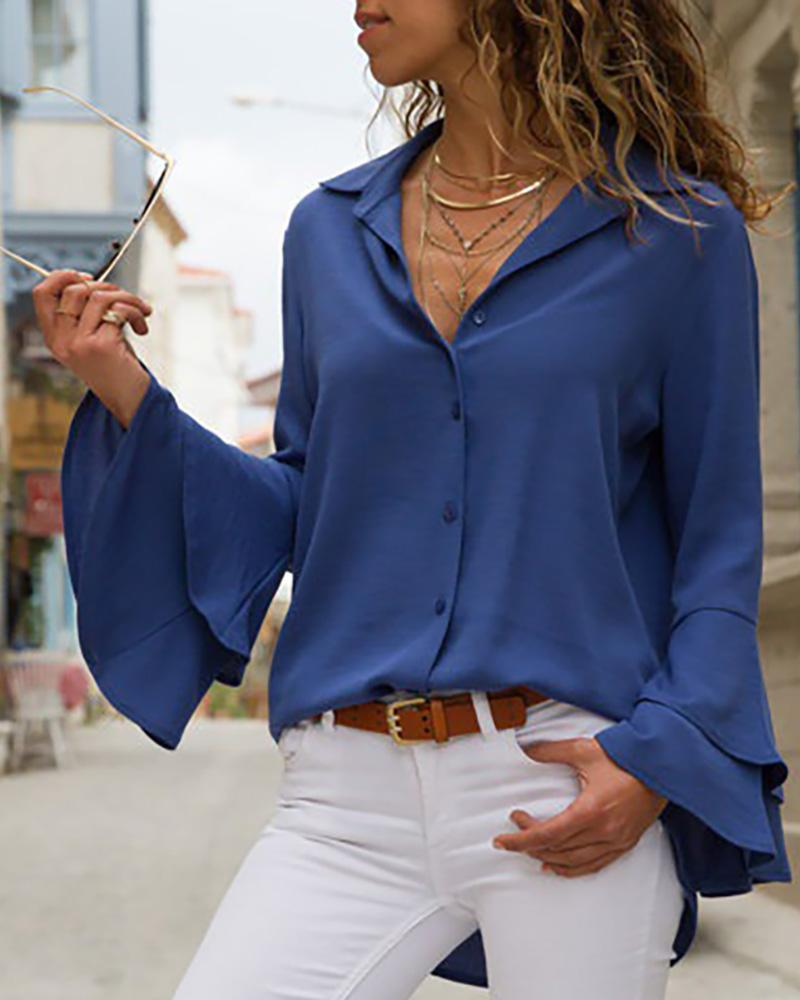 Turn-down Collar Long Sleeve Blouse