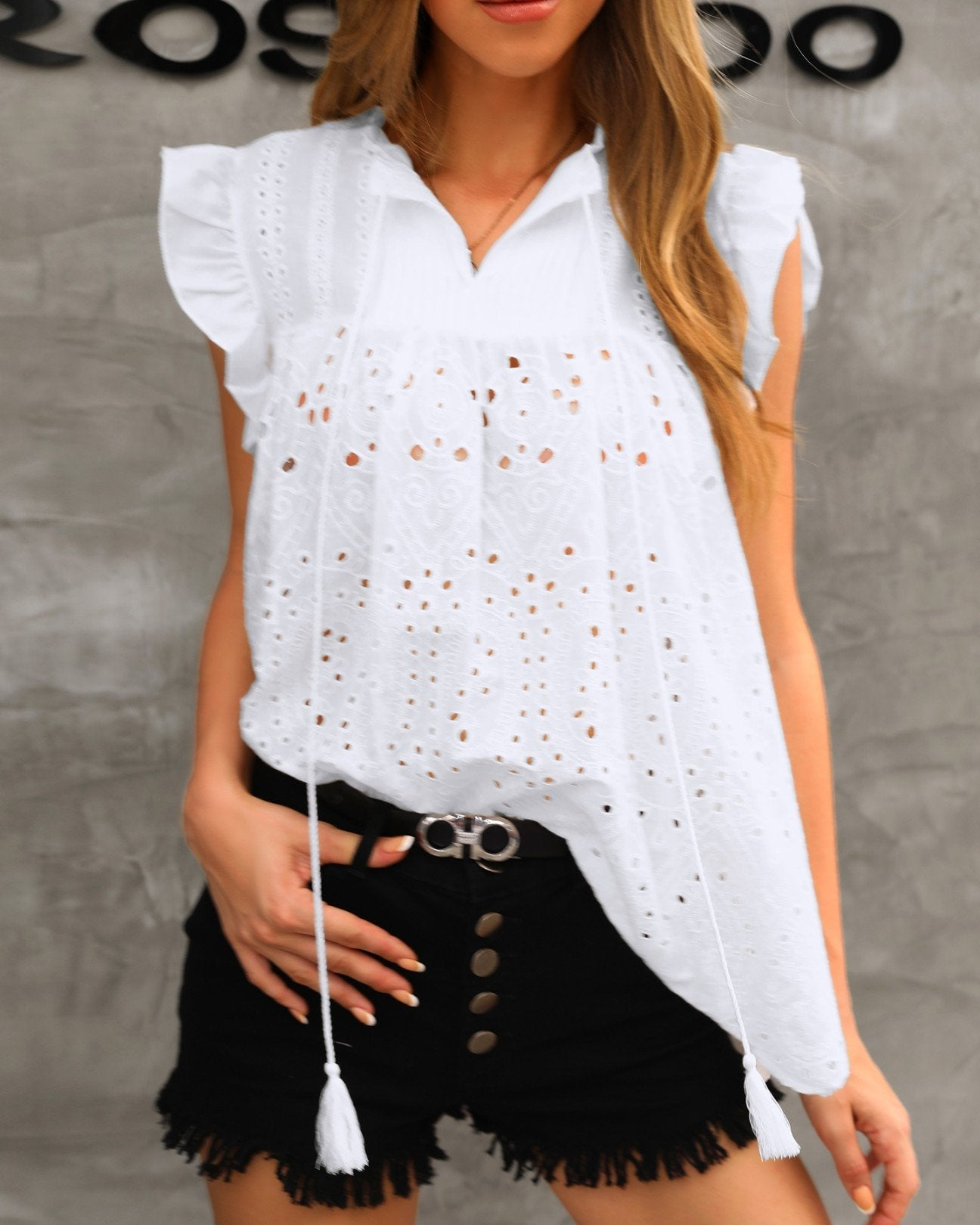 Solid Hollow Out Lace Flutter Sleeve Blouse