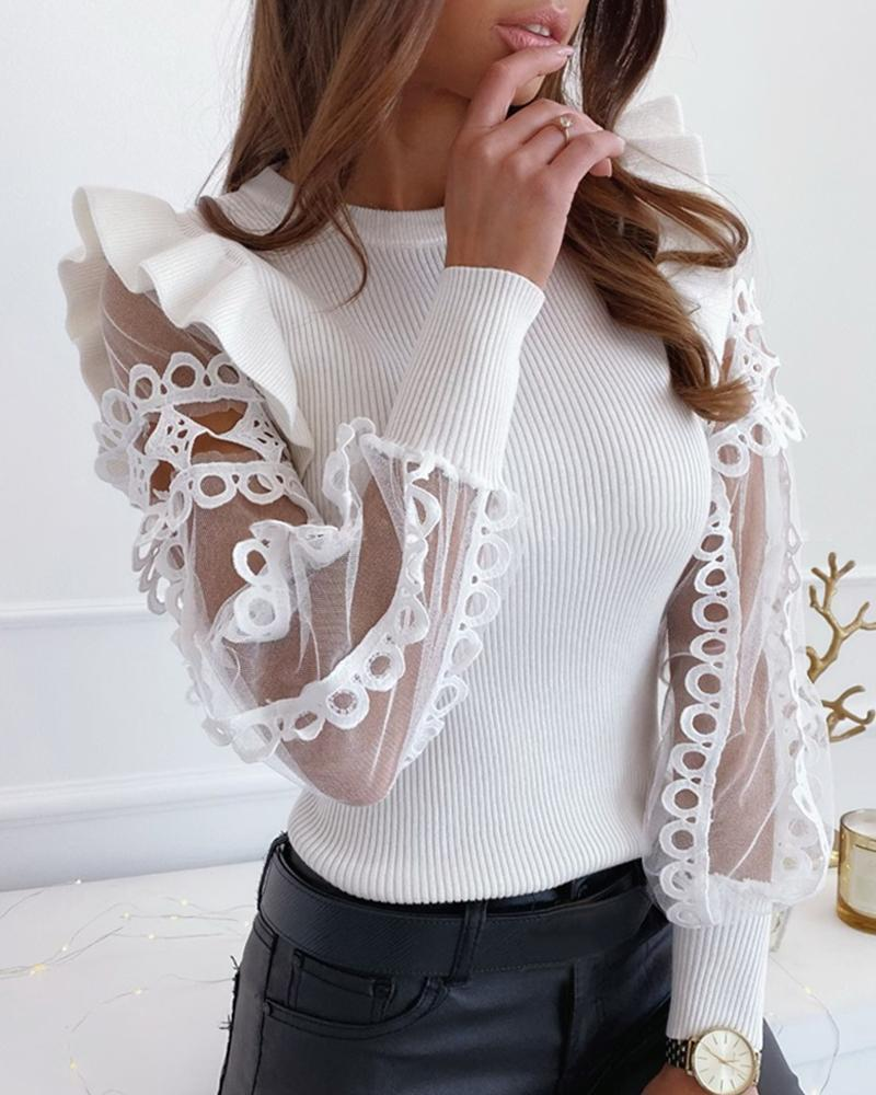 Outlet26 Mesh Lace Trim Frill Ribbed Blouse white