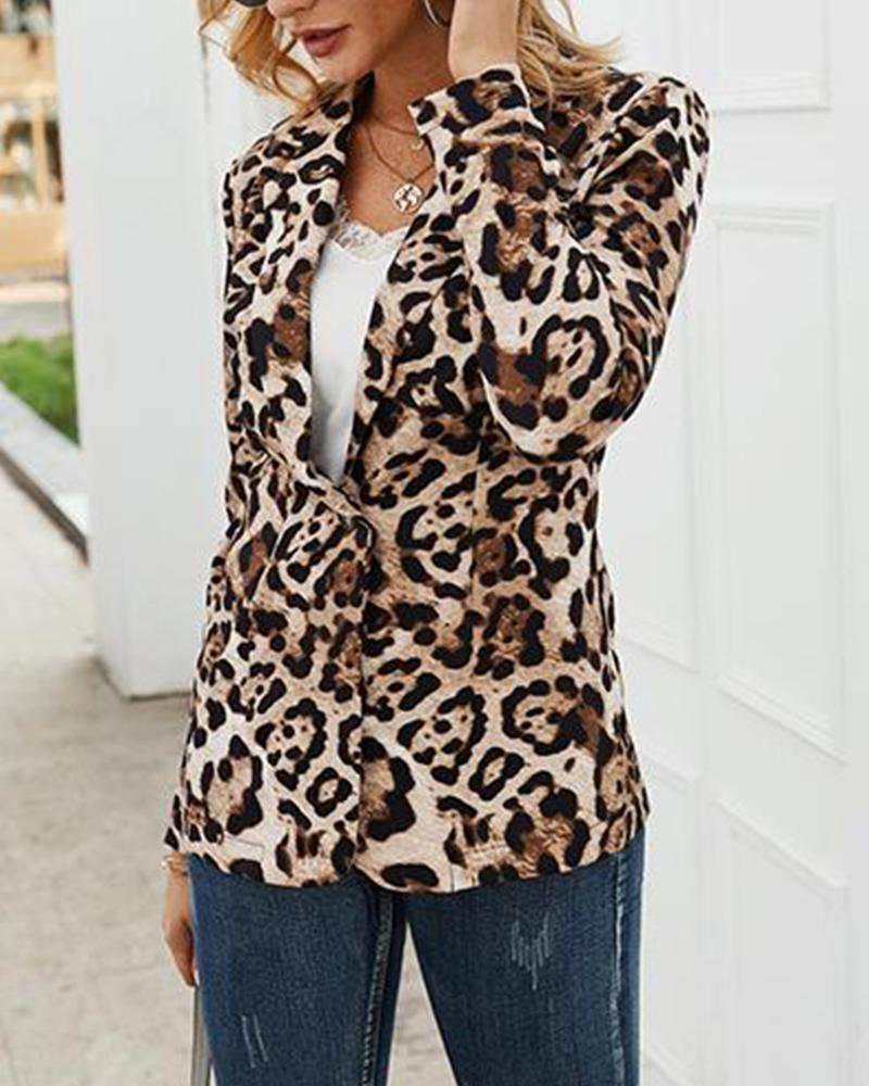 One Button Leopard Print Blazer