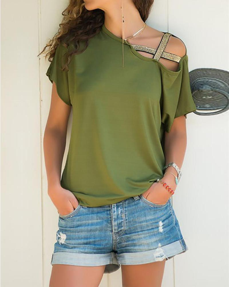 Outlet26 Solid Crisscross One Shoulder T-Shirt Army green