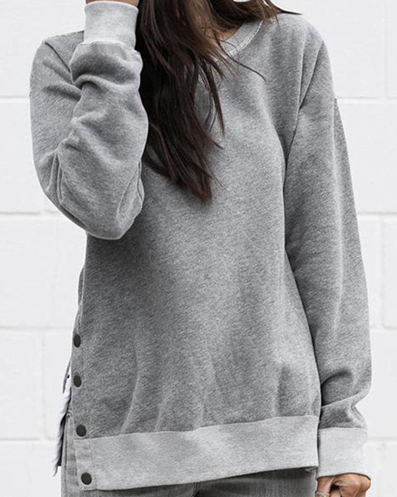 Outlet26 Solid Button Slit Long Sleeve Sweatshirt gray