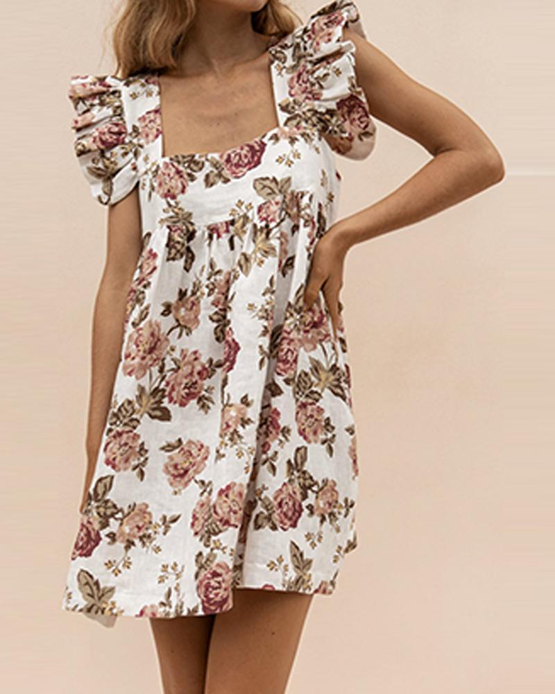 Floral Square Neck Ruffle Sleeve Dress