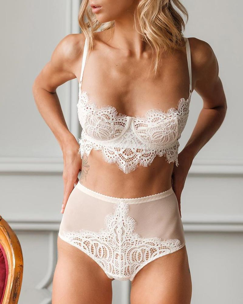 Spaghetti Strap Eyelash Lace Sheer Mesh Bra Set