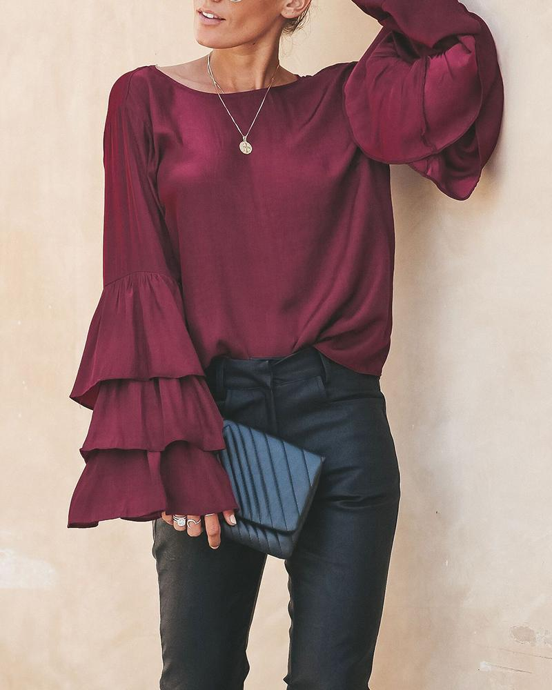 Layered Ruffle Sleeve Backless Top