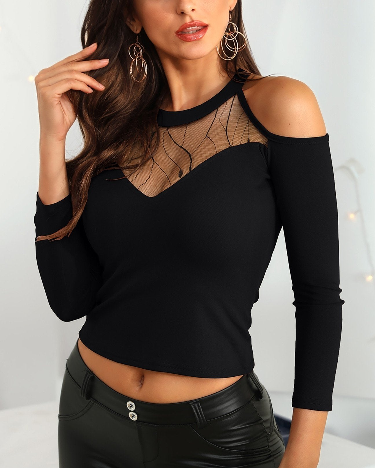 Cold Shoulder Sheer Mesh Blouse