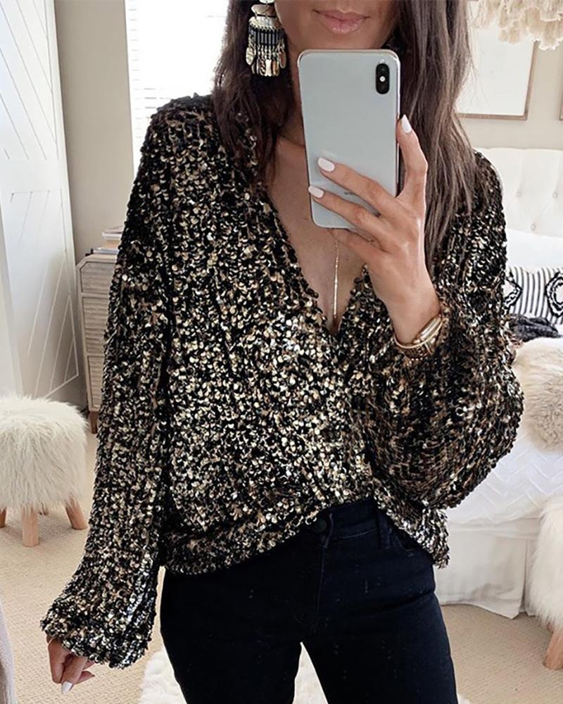 Outlet26 Glitter Plunge Long Sleeve Sequins Blouse black