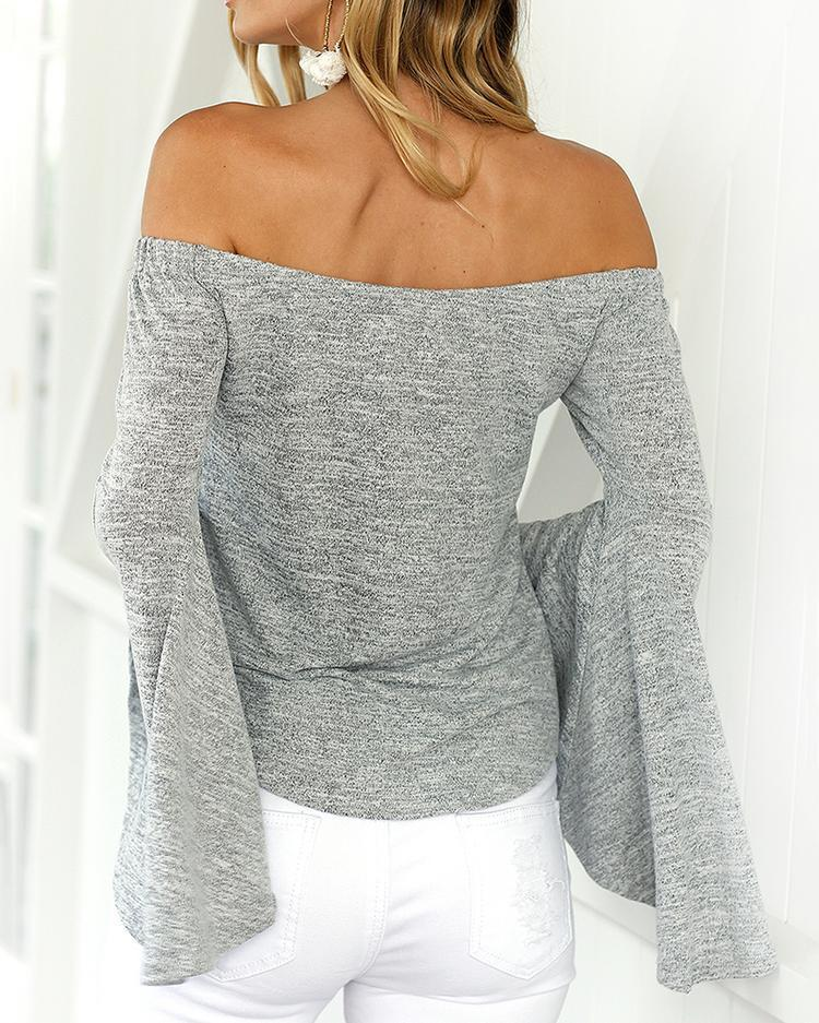 Trendy Off Shoulder Flare Sleeve Casual Blouse