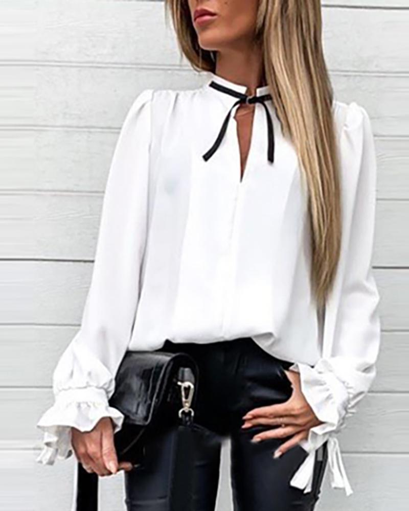 Outlet26 Solid Ruffles Cuff Tied Neck Shirt white