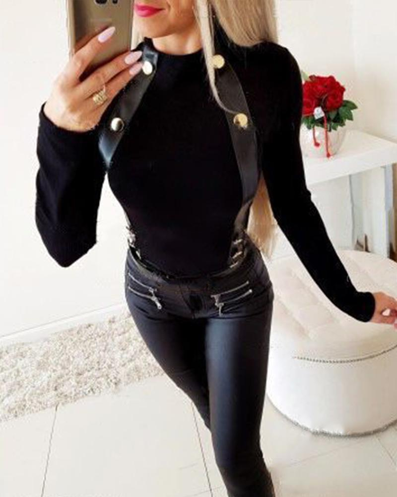 Rivet Detail Long Sleeve Top
