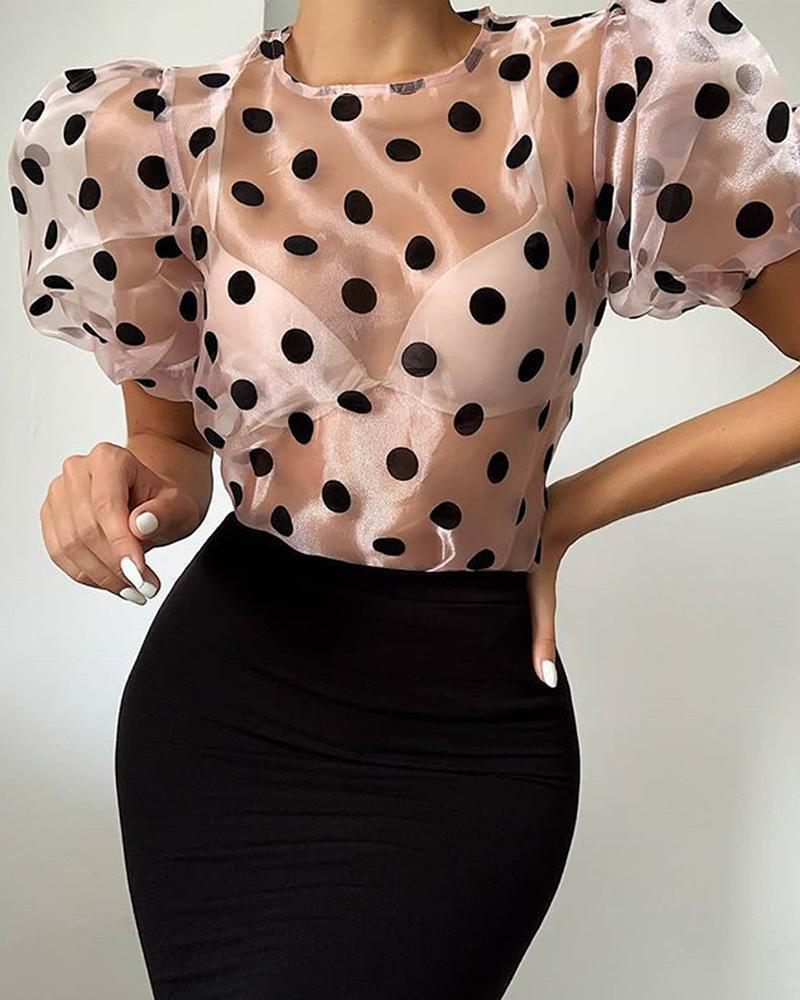 Mesh Polka Dot Short Sleeve Blouse