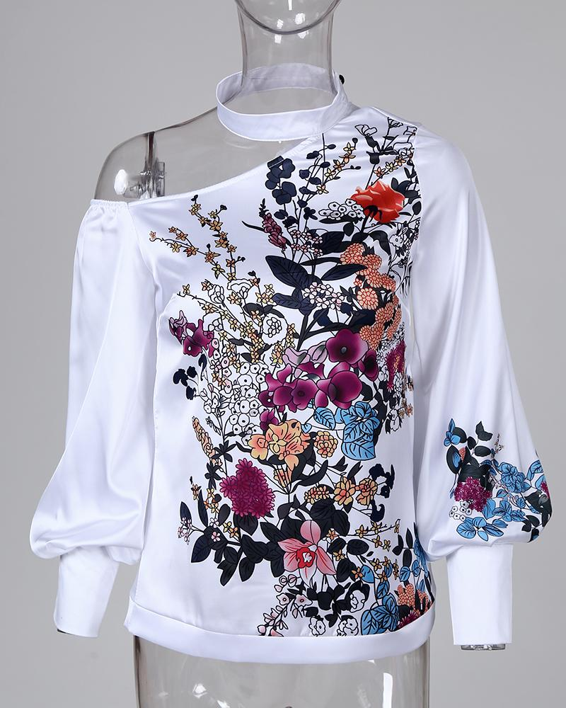 Mock Neck Cut Out Floral Print Lantern Sleeve Blouse