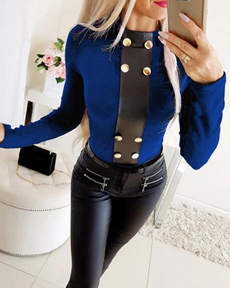 Outlet26 Faux Button Long Sleeve Top blue