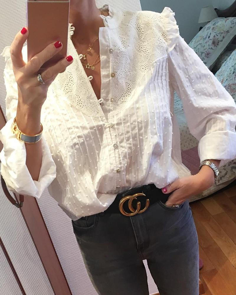 Round Neck Embroidery Ruffles Blouse