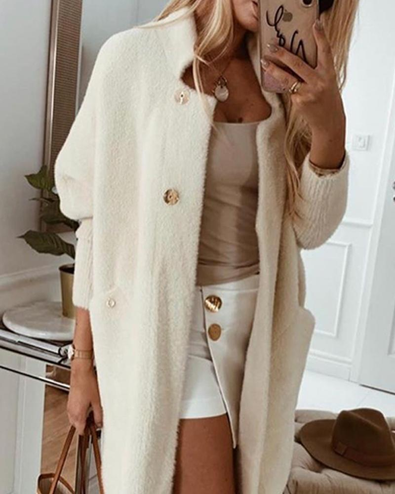 White Fluffy Long Sleeve Coat